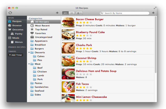 Screen shot of Paprika Recipe Organizer