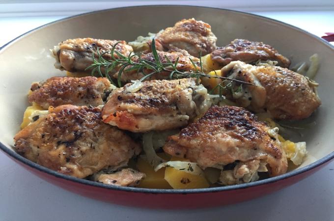 Slow Cooker Chicken, Fennel, Squash