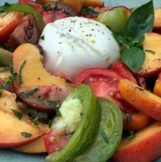 Burrata with Heirloom Tomatoes, Peaches and Basil
