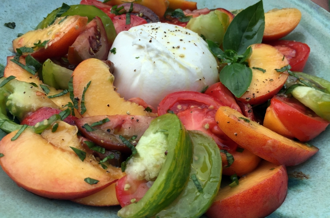Burrata with Peaches and Heirloom Tomatoes