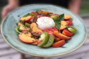 Burrata with Tomatoes, Peaches and Basil