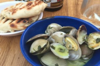 Thai Clams steamed in a coconut curry broth