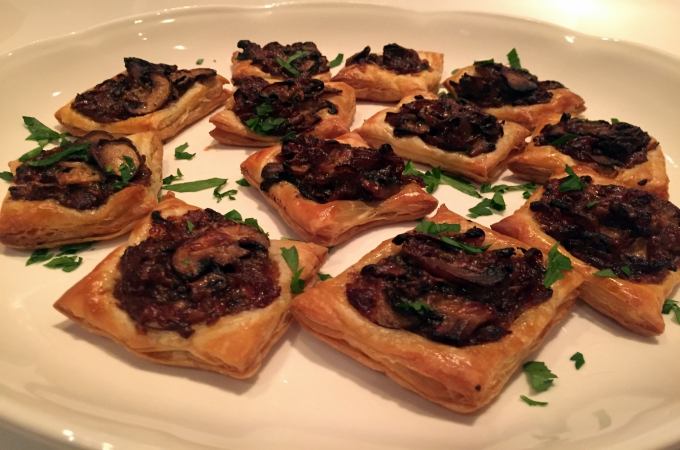 Cooking Club Holiday Appetizers Gruyere, Mushroom and Onion Tarte