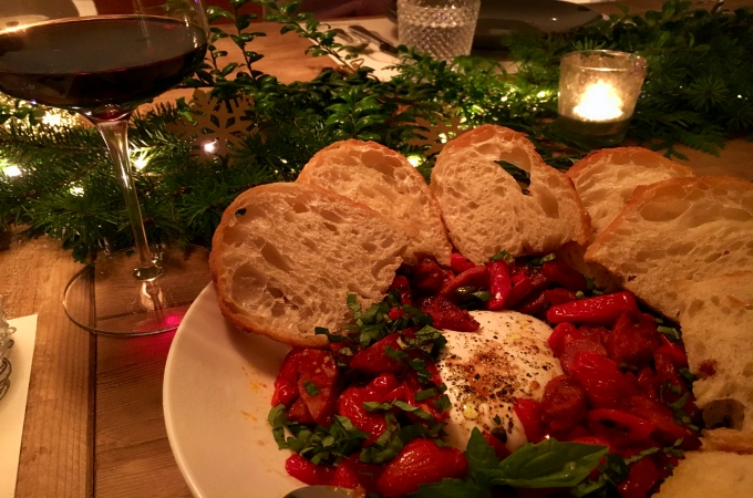 Cooking Club Holiday Appetizers Tomatoes and Burrata