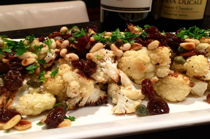 Roasted Cauliflower Bites with Pine Nuts, Raisins and Capers